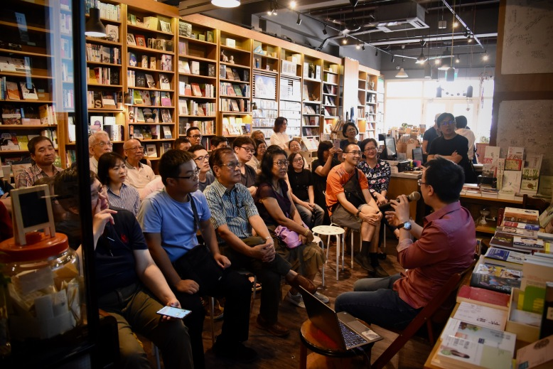 Shawn Seah speaking at Grassroots Book Room