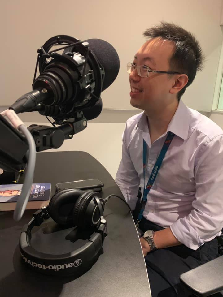 Shawn Seah being interviewed (Capital 958)